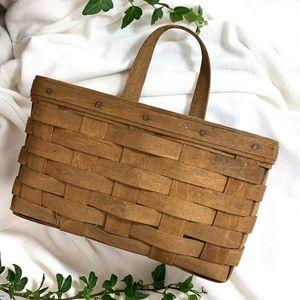 vintage brown longaberger bohemian hanging basket
